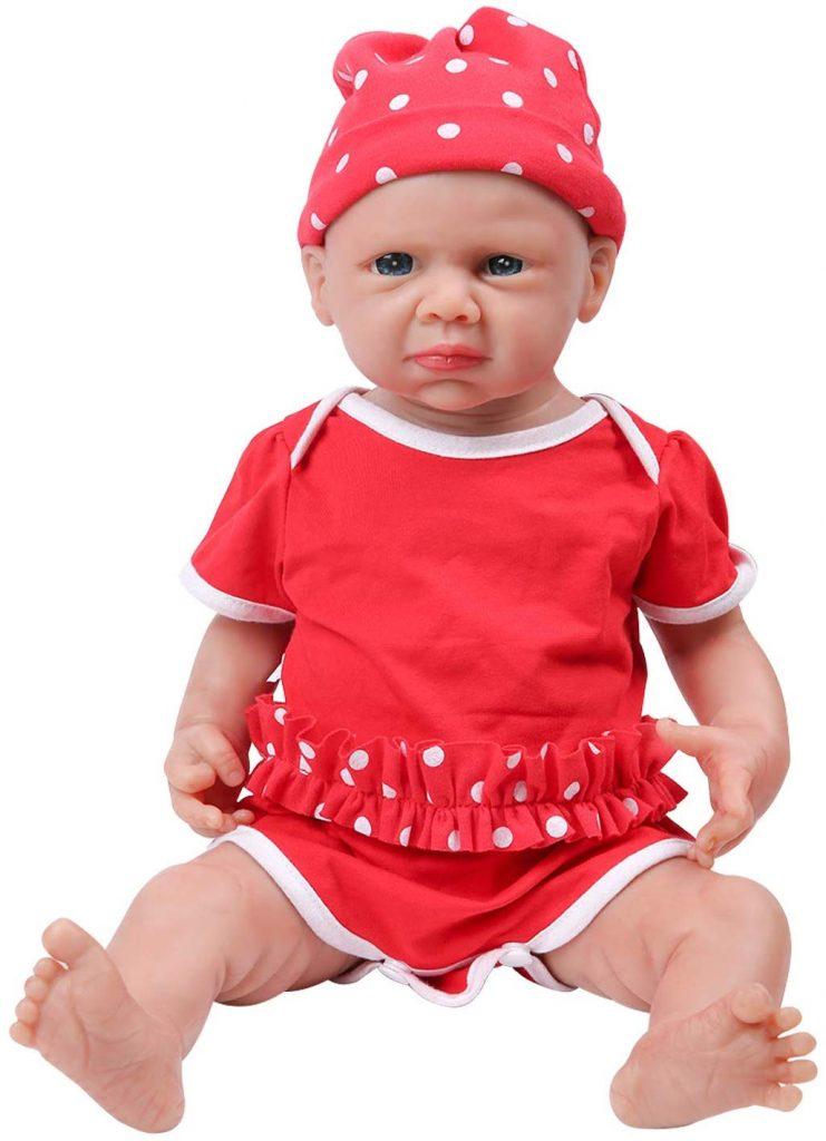 Diese realistische Ivita Puppe sieht wie ein echtes Baby aus.