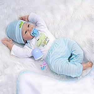 Dieses reborn Baby wird mit seinem eigenen Schnuller und seiner eigenen Flasche geliefert.