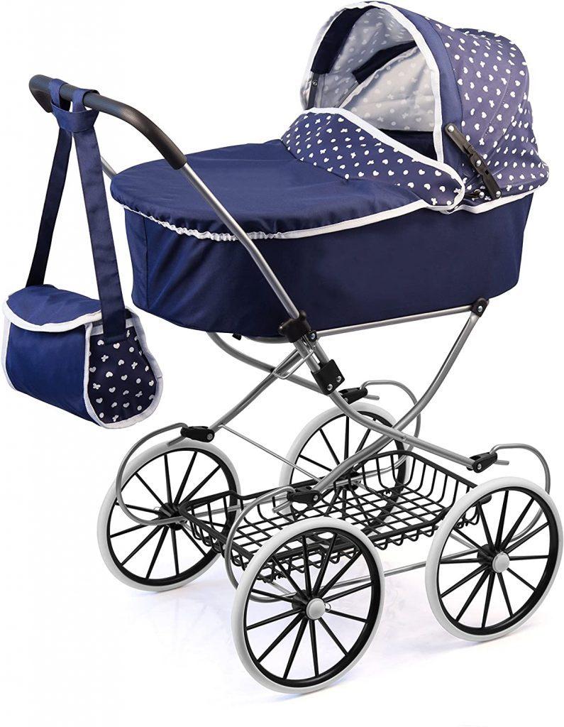 Dieser Bayer Design Puppenwagen ist blau.