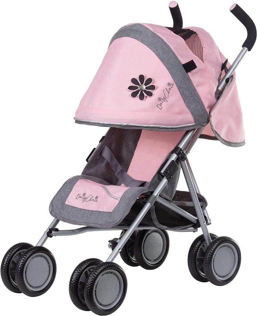 Der Daisy Chain Puppenwagen ist grau und rosa.