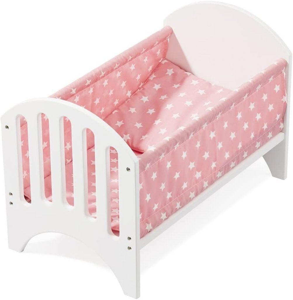 Das Howa Puppenbett wird mit einem Kissen und einer Matratze geliefert.