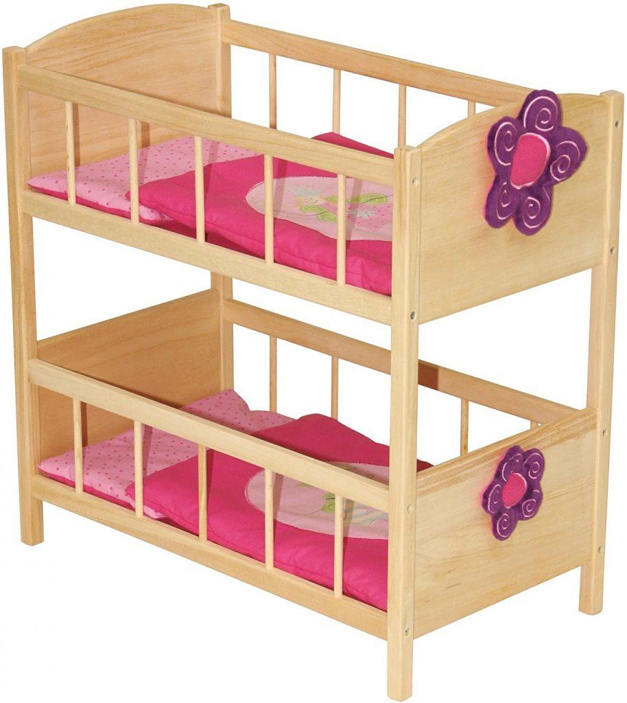 Dieses Puppenetagenbett Roba bietet Platz für 2 Kleinkinder von maximal 50 cm.