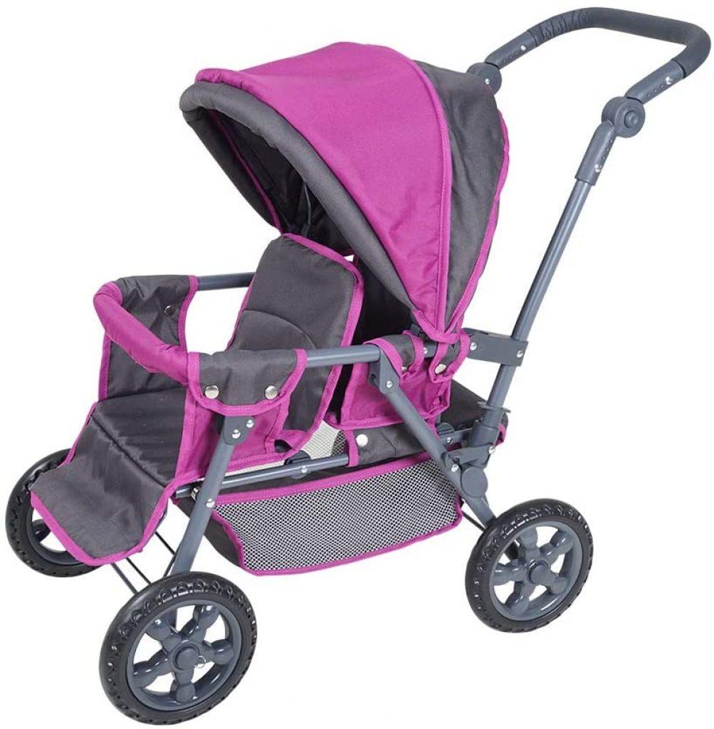 Mit dem Zwillingspuppenrwagen von Knorrtoys kann Ihr Kind mit zwei Puppen spazieren gehen.