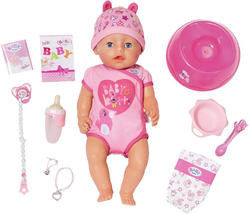 Die Baby Born Puppe ist interaktiv, kann aber ohne Batterien verwendet werden.