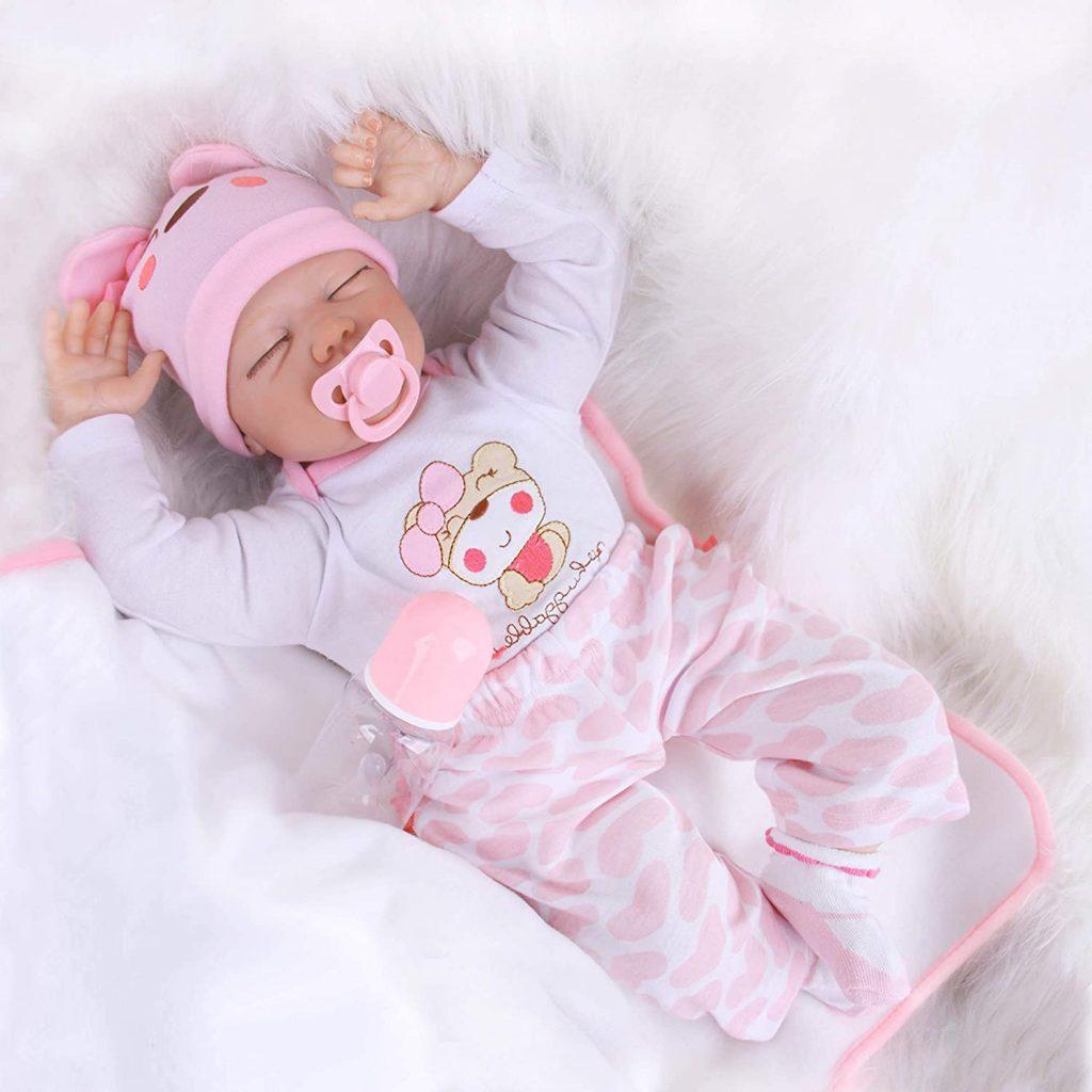 Diese reborn baby puppe mädchen hat fest geschlossene Augen.