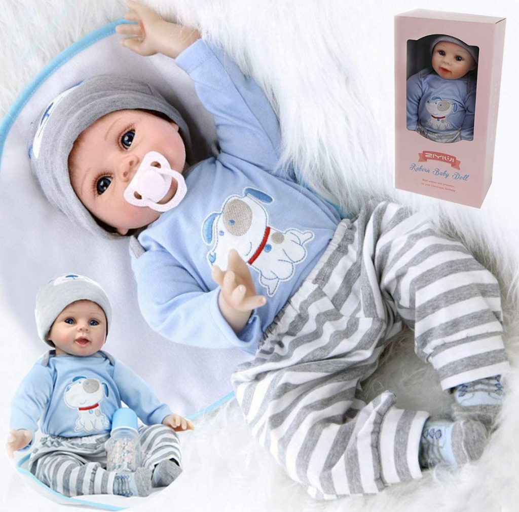Diese reborn Puppe wird mit einem weißen Schnuller geliefert.