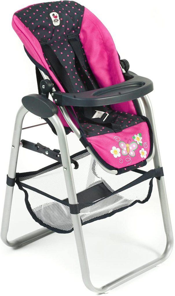 Der Puppenhochstuhl von Bayer Design hat einen verstellbaren Sitz.