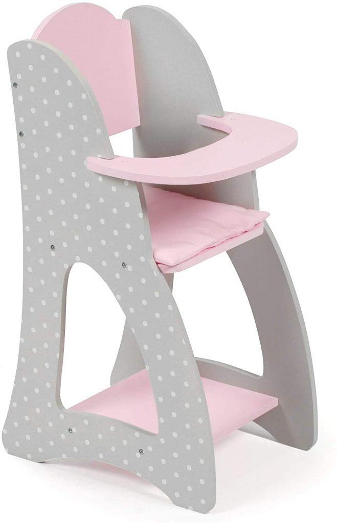 Dieser puppenmöbel Bayer ist grau und rosa.